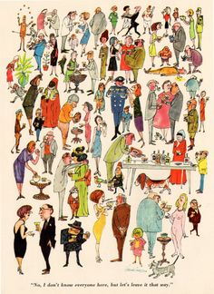 """""""No, I don't know everyone here, but let's leave it that way."""" Illustration from Cavalier Magazine, June 1964"""