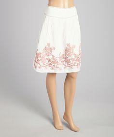 White & Pink Floral-Accent A-Line Skirt by Pura Vida #zulily #zulilyfinds