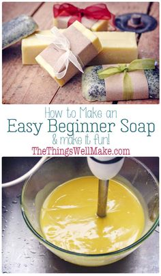 Making soap isn't difficult. This quick and easy, basic beginner soap recipe has a long working time, perfect for beginners. It also comes with fun ideas for personalizing it by adding exfoliants, essential oils, etc. Handmade Soap Recipes, Soap Making Recipes, Handmade Soaps, Making Bar Soap, Fun Recipes, Homemade Soap Bars, Essential Oils Soap, Soap Packaging, Cold Process Soap
