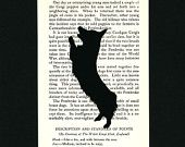 Corgi Pembroke Welsh - Hand-cut Silhouette Mounted on Vintage Dog Book Page