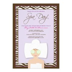 Spa Day Bridal Shower Invitation (lavender) #purplewedding #weddings #bridalshowerinvitations