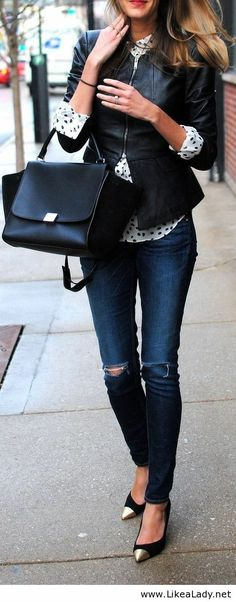 Women style clothing fashion outfit handbag blue jeans shoes leather jacket blazer spring autumn casual street