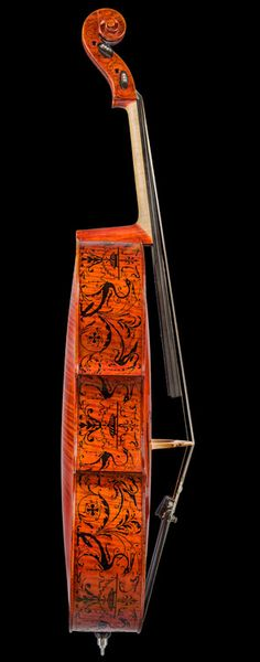 Cello by Dmytro Didlschenka. This cello has ornamentation in the style of the famous Stradivari Quartet. Find more rare musical instruments on CuratorsEye.com