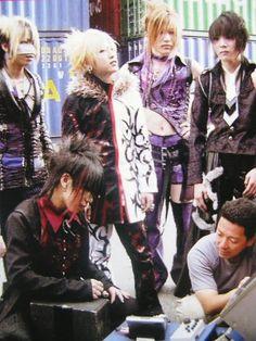 the GazettE on set of Zetsu. (From left to right. Reita. Aoi. Ruki. Uruha. and Kai.... and a crew member. XD :D ♡)