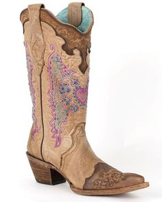 Gorgeous brown/tan/lilac/turquoise Corral women's boots!