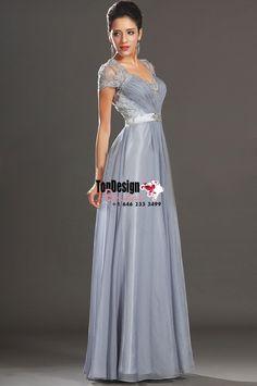 Wholesale Vestidos De Fiesta 2017 Brand New V-Neck Beading Cap Sleeves Grey Chiffon Prom Dresses