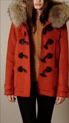 Fur Trim Hooded Duffle Coat | Burberry