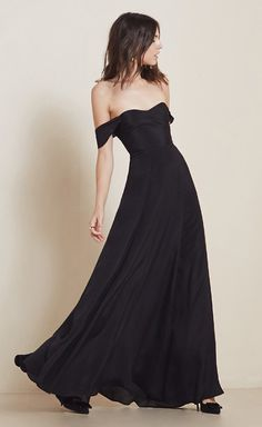 wedding party dress option. love the off the shoulder look. reformation