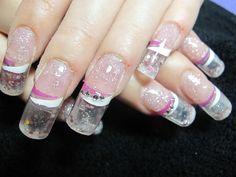 The aquarium gel nails - the latest craze in nail modeling Aqua Nails, Diy Nails, Manicure, Love Nails, How To Do Nails, Pretty Nails, French Nails, Snow Globe Nails, Aquarium Nails