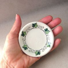 Syracuse China Green Concord Butter Pat Plate Leaf by fifthseason, $10.00
