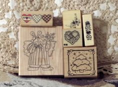 RUBBER INK Stamps 6 Used Different Sizes Themes Mixed http://AJunkeeShoppe.Webstore.com