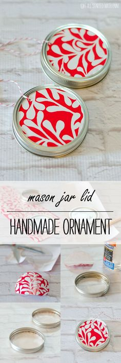 Handmade Ornament Ideas: Mason Jar Lid Ornament