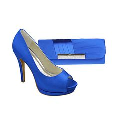 Women's Shoes Peep Toe Stiletto Heel Satin Pumps Shoes Matching Satin Evening Bag – USD $ 64.99