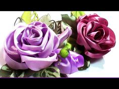 DIY satin ribbon rose tutorial, how to make kanzashi rose / Роза из лент канзаши - YouTube