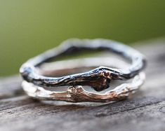Two Sterling Silver Twig Rings, Black Patina Twig Ring, Sterling Silver Branch Rings, Whimsical Silver Twig Ring, Twig Friendship Rings by ClaudetteTreasures on Etsy (null) Twig Ring, Branch Ring, Ring Verlobung, Jewelry Rings, Unique Jewelry, Jewelry Accessories, Fine Jewelry, Gold Jewellery, Jewelry Ideas