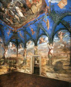 Dosso Dossi, Interior view. 1530 - Fresco, Hall of the Cariatidi , Villa Imperiale, Pesaro , Italy