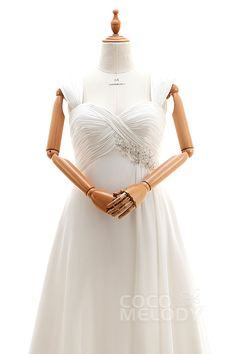 Stylish A-Line Straps Empire Court Train Chiffon Ivory Sleeveless Lace Up-Corset Plus Size Wedding Dress Appliques Pleating CWLT16010