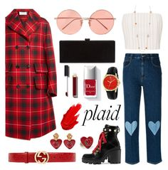 """Plaid"" by patilez on Polyvore featuring Gucci, Thierry Mugler, STELLA McCARTNEY, Dolce&Gabbana, Edie Parker, Chanel, Couture Colour, Linda Farrow and Maybelline"