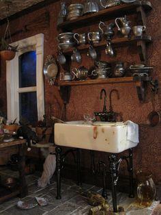 Village Miniature, Miniature Rooms, Miniature Kitchen, Miniature Houses, Miniature Furniture, Miniature Crafts, Haunted Dollhouse, Haunted Dolls, Diy Dollhouse