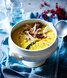 This guinea fowl muligatawny soup recipe is lentil-rich, with a depth of warming spicy flavours.