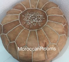 Moroccan Leather Pouf light tan by moroccanrooms on Etsy