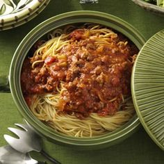 Family-Favorite Spaghetti Sauce Slow Cooker Recipe from Taste of Home -- shared by Helen Rowe of Spring Lake, Michigan   #crockpot