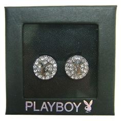 EASTER GIFT Playboy Earrings Stud Silver Swarovski Crystal Jewelry Round Bunny 2 #Playboy #Stud