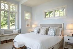 Love all of the light in this White Lake beach style bedroom