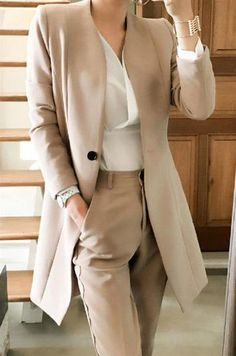 Women's Jacket and Pants Suit Korean Style Uniform V-neck Long Elegant for Autumn Business Office - business professional outfits for interview Suit Fashion, Work Fashion, Fashion Outfits, Sporty Fashion, Nautical Fashion, Fashion Goth, Curvy Fashion, Winter Fashion, Fashion Tips