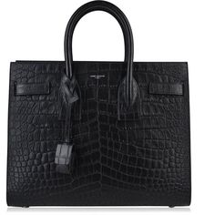 Saint Laurent Sac De Jour In Croc Embossed Leather ($2,595) ❤ liked on Polyvore featuring bags, handbags, shoulder bags, black, crocodile purse, crocodile handbags, crocodile embossed handbags, croco embossed handbags and crocodile shoulder bag