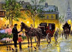 Original ACEO Cabbies at the Market by V.Geo