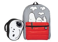 Pair up Target's Snoopy Lunch Bag ($9.99) and the Snoopy Backpack with Puff Pocket ($15.99).