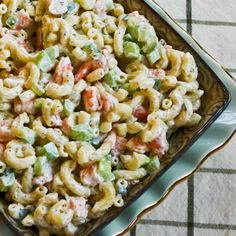Shrimp and Macaroni Salad | Kalyn's Kitchen® -- More shrimp, less pasta.  Uses Dreamfield's pasta.  -- This is not wheat-free.