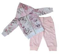 completo/tuta neonata felpa con cappuccio fantasia farfalle + pantalone taglie disponibili 9-12, 12-18, 18-24 mesi