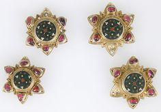 Four Enamel Plaques ca. 1300, Paris, France Cloisonné enamel, silver-gilt, jewels