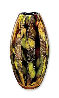 vase gold brown colorful glass vase