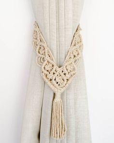 Macrame Art, Macrame Design, Macrame Projects, Macrame Knots, Curtain Holder, Curtain Tie Backs, Style Boho, Retro Style, Cotton Cord