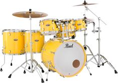Maple Shell Pack with Bass, and Toms, and Floor Toms, and Snare - Solid Yellow Pearl Drum Kit, Pearl Drums, Drum Musical Instrument, Musical Instruments, Baby Drum Set, How To Play Drums, Snare Drum, Book Boyfriends, Custom Guitars
