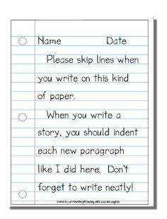 Teaching With Love and Laughter: Notebook Paper Freebie