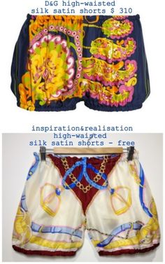 Dolche and Gabbana silk shorts tutorial
