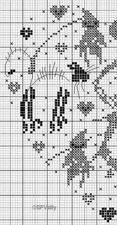 Schema punto croce Cuore Scheletro 2