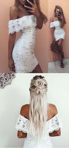 White homecoming dress,off shoulder prom dress,lace prom dress, strapless homecoming gowns,short prom gowns