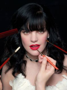 Paulie Perrette  Romantic red lips and glam makeup complement Pauley's exquisite Parisian shoot.<br /> <br /> Photography by Cliff Lipson at the Hôtel Plaza Athénée in Paris. Originally published in <em>Watch!</em> Magazine, August 2010.