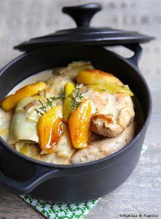 Escalopes de poulet aux poireaux, pommes et cidre »
