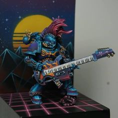 An oldie but a personal favourite! Done a couple of years ago, synthwave Noise Marine conversion. I hope you like him!! : minipainting