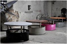Fass Tisch Couchtisch aus 200l Neu Fass Pulverbe. von Fasszination Customized auf DaWanda.com
