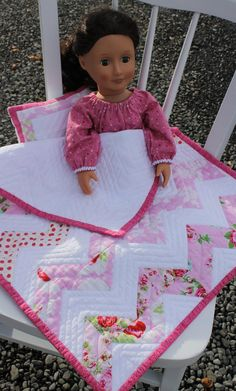 Pink chevrons doll quilt, pillow, nightgown, matching set.