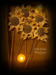 Primitive Sunflowers Set of 5