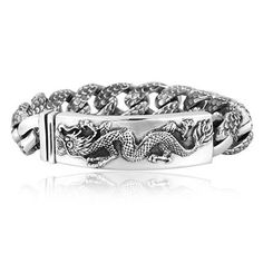 Cool Design Dragon Luxury Linked Silver Bracelet