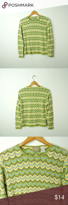 """Cute chevron zig-zag cotton sweater Liz Claiborne elegant ladies sweater. Pull over, long sleeves, stretch cotton.      Size - petite S     Chest -  18"""" (armpit to armpit)     Length - 23"""" (from shoulder to hem)     Sleeve length - 23""""     Waist - 17""""     Across the bottom/hem - 18""""     Material - 100% Cotton (Hand Wash Warm) Liz Claiborne Sweaters Crew & Scoop Necks"""